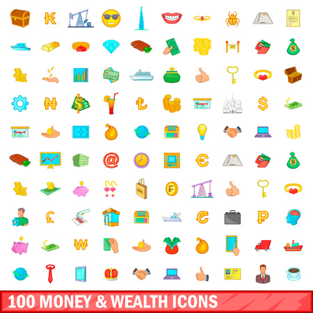 100 money and wealth icons set in cartoon style for any design illustration Stock Photo