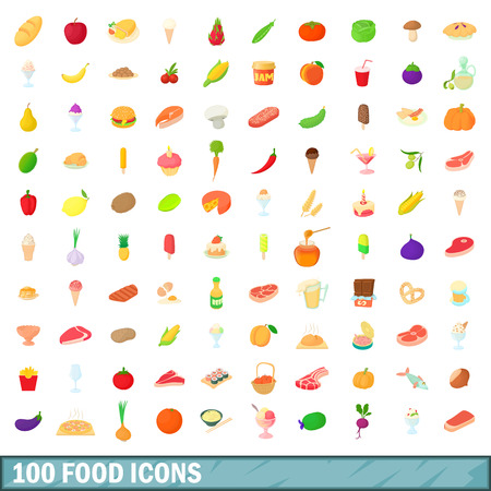 100 food icons set in cartoon style for any design illustration