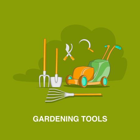 Gardening tools concept in cartoon style on an orange background illustration