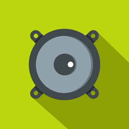 Frontal audio speaker icon. Flat illustration of frontal audio speaker icon for web isolated on lime background