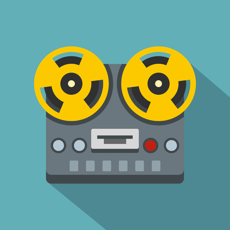 Vintage reel to reel tape recorder deck icon. Flat illustration of vintage reel to reel tape recorder deck icon for web isolated on baby blue background