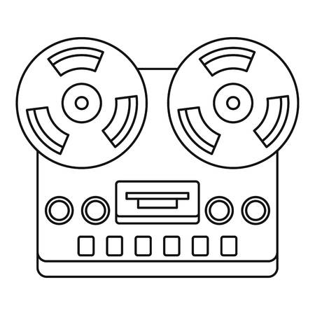 Analog stereo open reel tape deck recorder icon. Outline illustration of analog stereo open reel tape deck recorder icon for web Banco de Imagens