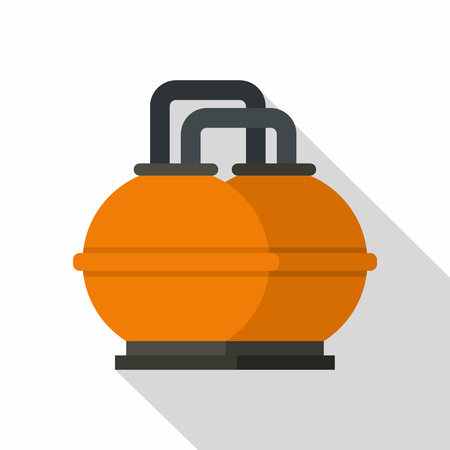 Orange fuel storage tank icon. Flat illustration of orange fuel storage tank icon for web isolated on white background