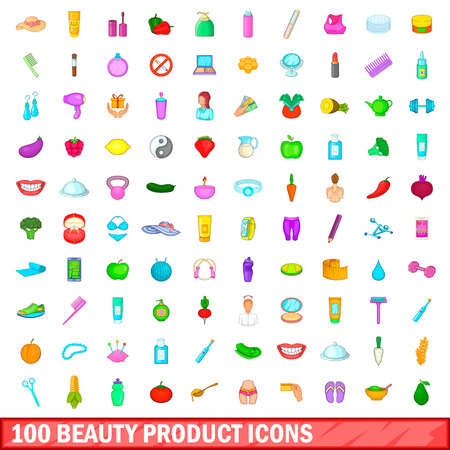 100 beauty product icons set in cartoon style for any design illustration