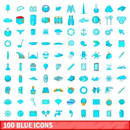 100 blue icons set in cartoon style for any design illustration Reklamní fotografie - 108912391