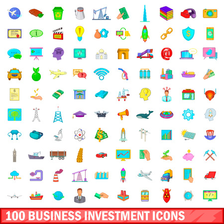 100 business investment icons set in cartoon style for any design illustration Stock Photo