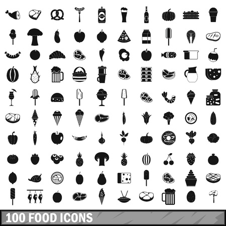 100 food icons set in simple style for any design illustration