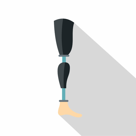 Prosthesis leg icon. Flat illustration of prosthesis leg icon for web