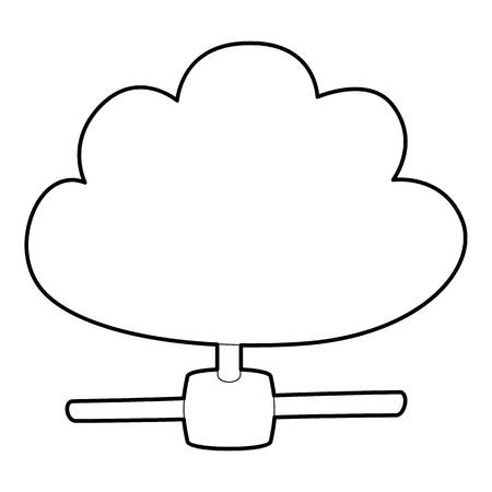 Cloud database icon. Outline illustration of cloud database icon for web Stock Photo