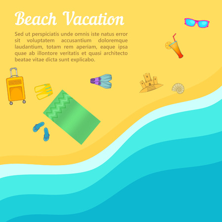 Sea rest concept beach. Cartoon illustration of sea rest concept for web Stock Photo