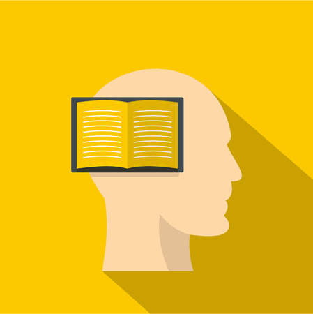 Open book inside a man head icon. Flat illustration of open book inside a man head icon for web isolated on yellow background