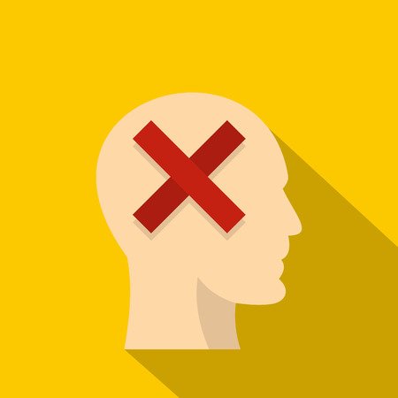 Man head silhouette with red cross inside icon. Flat illustration of man head silhouette with red cross inside icon for web isolated on yellow background