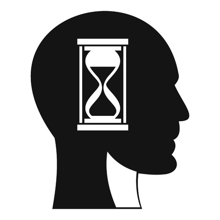 Hourglass in head icon. Simple illustration of hourglass in head icon for web