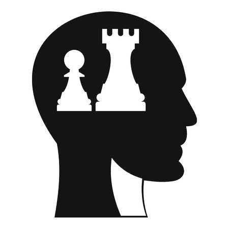 Head with queen and pawn chess icon. Simple illustration of head with queen and pawn chess icon for web