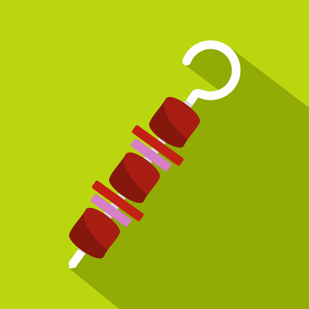 Barbecue kebab on skewer icon. Flat illustration of barbecue kebab on skewer icon for web isolated on lime background