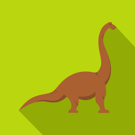 Brown brachiosaurus dinosaur icon. Flat illustration of brown brachiosaurus dinosaur icon for web isolated on lime background Stock Photo