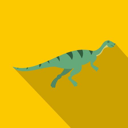 Gallimimus dinosaur icon. Flat illustration of gallimimus dinosaur icon for web isolated on yellow background