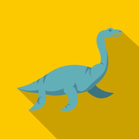 Blue elasmosaurine dinosaur icon. Flat illustration of blue elasmosaurine dinosaur icon for web isolated on yellow background Stock fotó