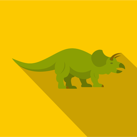 Green styracosaurus dinosaur icon. Flat illustration of green ceratopsians dinosaur icon for web isolated on yellow background Stock Photo
