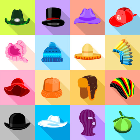 Headdress hat icons set colorful, flat style Stock Photo