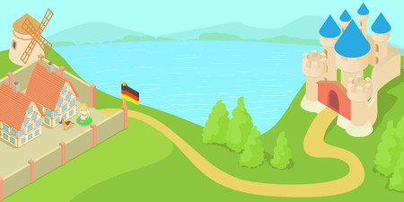 Germany landscape concept, cartoon style
