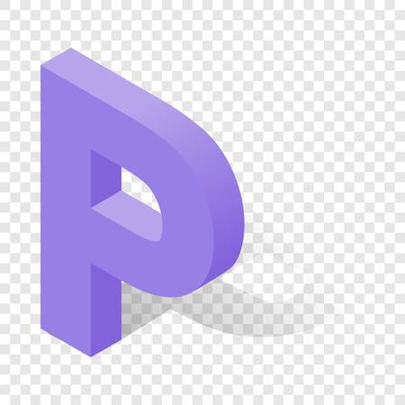 P letter in isometric 3d style with shadow. Violet P letter illustration