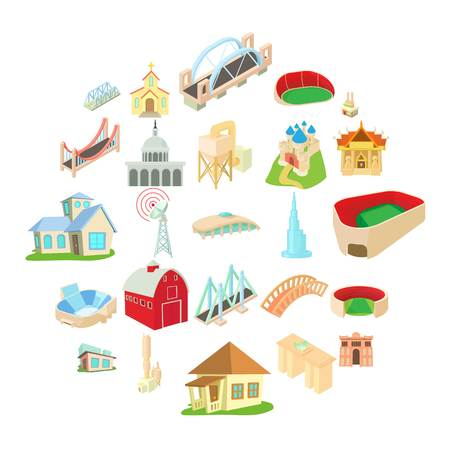 Building house icons set. Cartoon set of 25 building house vector icons for web isolated on white background Illustration