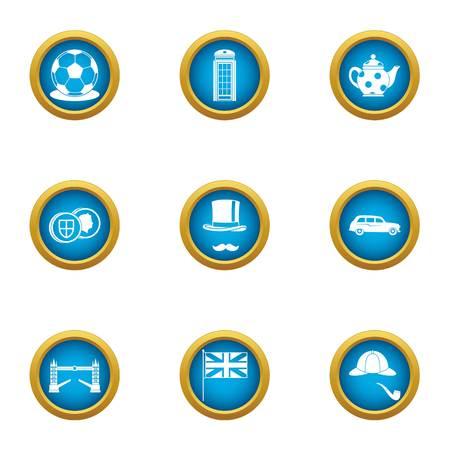 London bridge icons set. Flat set of 9 london bridge vector icons for web isolated on white background