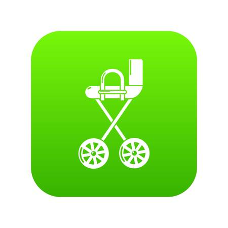 Baby carriage yellow icon green vector isolated on white background