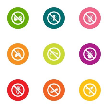 Against icons set, flat style  イラスト・ベクター素材