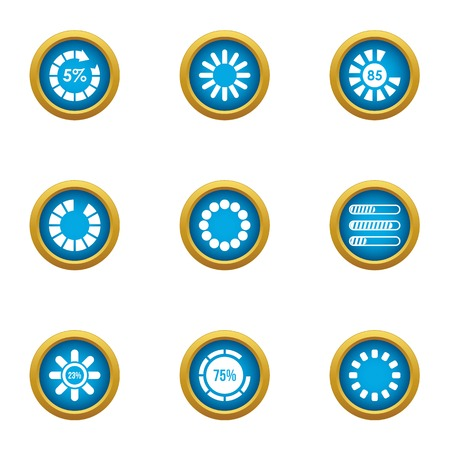 Full power icons set. Flat set of 9 full power vector icons for web isolated on white background