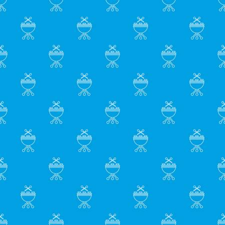 Drums pattern vector seamless blue repeat for any use  イラスト・ベクター素材