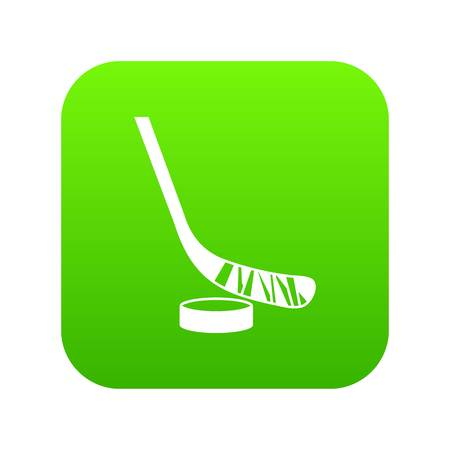 Stick and puck icon digital green Stock Illustratie