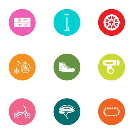 Bicycle road icons set. Flat set of 9 bicycle road vector icons for web isolated on white background 일러스트