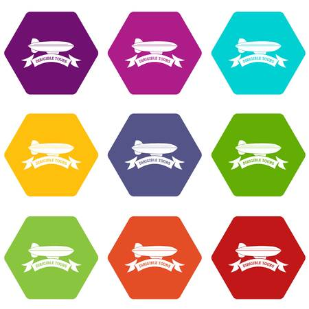Trip dirigible icons 9 set coloful isolated on white for web  イラスト・ベクター素材