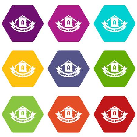 Writing project icons 9 set coloful isolated on white for web