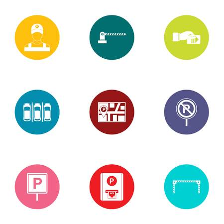Parking facilities icons set. Flat set of 9 parking facilities vector icons for web isolated on white background