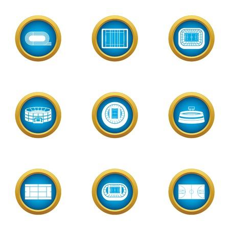 Stadium icons set. Flat set of 9 stadium vector icons for web isolated on white background Illusztráció