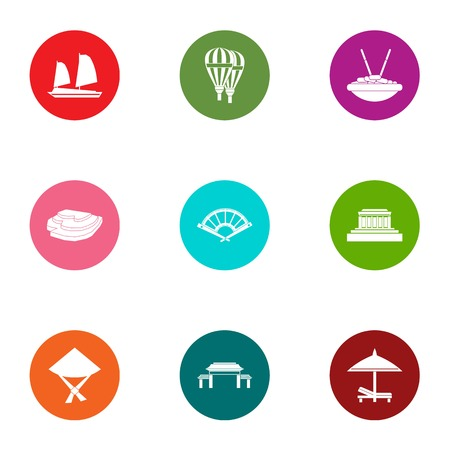 Major holiday icons set. Flat set of 9 major holiday vector icons for web isolated on white background 矢量图像