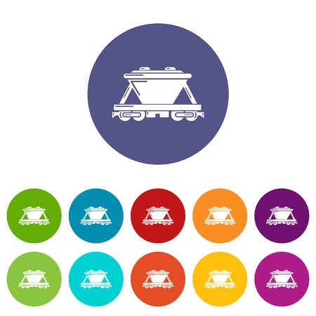Goods train icons set vector color
