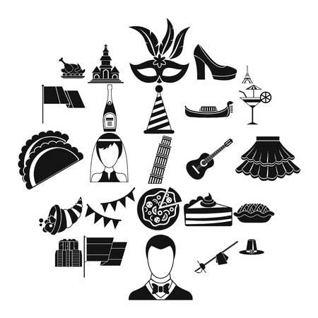 Wine icons set, simple style Stock Illustratie