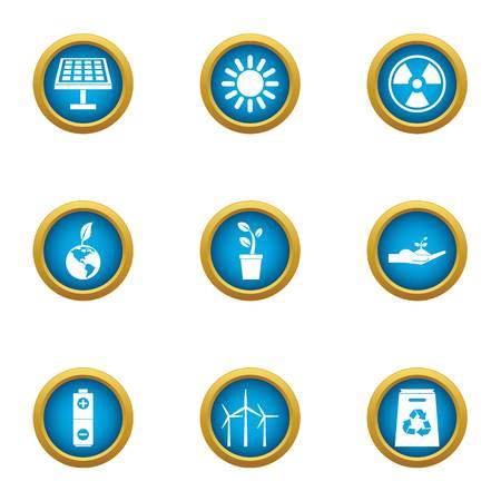 Ensemble d'icônes de vecteur d'énergie. Ensemble plat de 9 icônes vectorielles de vecteur d'énergie pour le web isolé sur fond blanc