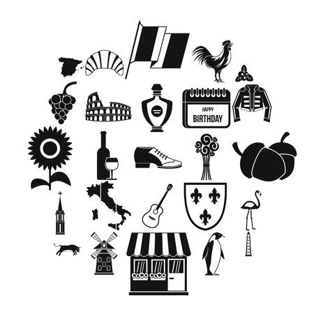 Set di icone di cantina, stile semplice