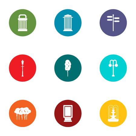 Park inventory icons set. Flat set of 9 park inventory vector icons for web isolated on white background