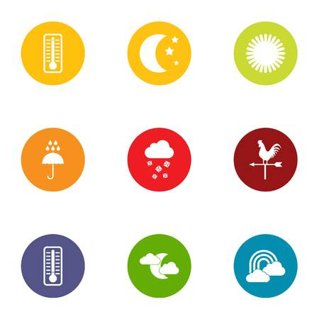 Night weather icons set. Flat set of 9 night weather vector icons for web isolated on white background Illustration