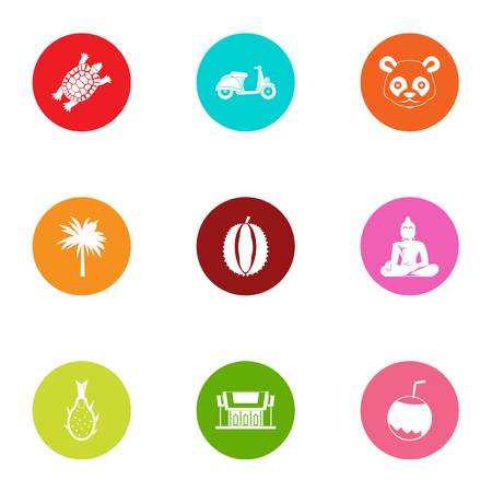 Asia inventory icons set, flat style