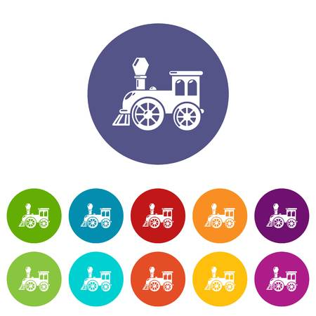 Old train icons set vector color Vettoriali
