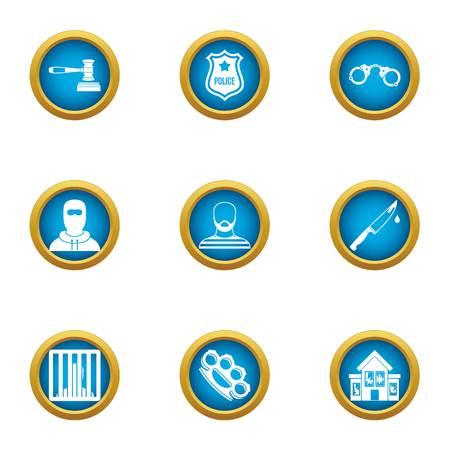 Heist icons set. Flat set of 9 heist vector icons for web isolated on white background Ilustração