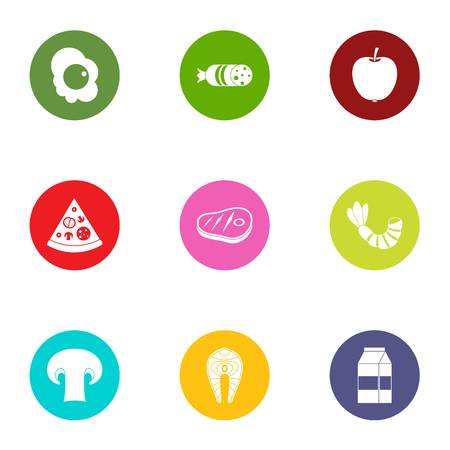 Pizza pate icons set. Flat set of 9 pizza pate vector icons for web isolated on white background 写真素材 - 130229788