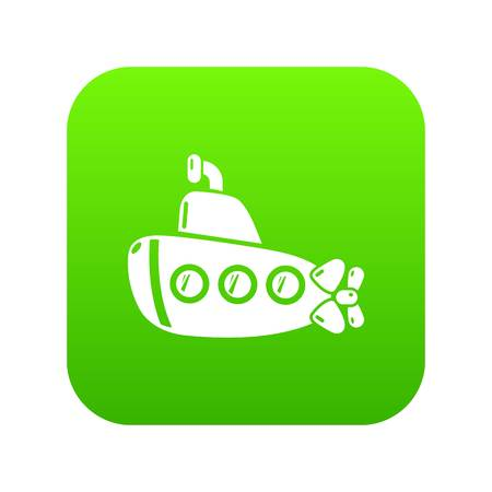 Submarine old icon green vector isolated on white background
